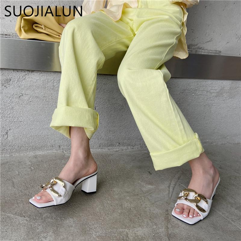 SUOJIALUN New Women Slippers Fashion Brand Chain Outdoor Slides Square High Heel Ladies Outdoor Sandal Shoes Open Toe Flip Flop C0128