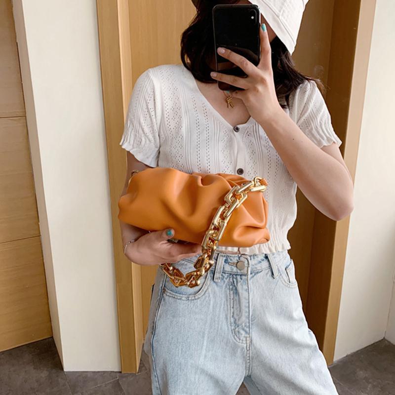 Nuage embrayage bouillie chaîne pince sac sac à main sac sac sac sac à main sacs sacs sacs plissés sac épaule jour d'épaule sous-bras fbbkx