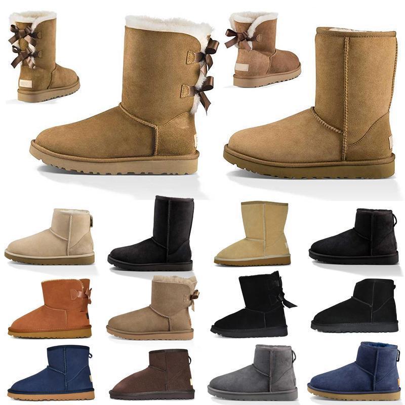 Mujeres botas de nieve triple castaño negro marrón rosa azul marino azul gris rojo moda clásico tobillo bota corto botines botines de invierno zapatos