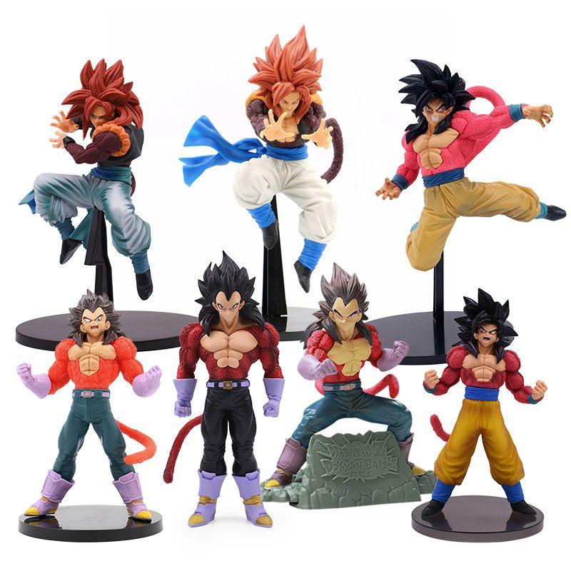 16-28 cm DBZ Super Gokou Veget a gogeta PVC Figura de acción Anime DBZ Saiya Red Gogeta Modelo de colección Modelo Juguetes para niños Regalo X0121