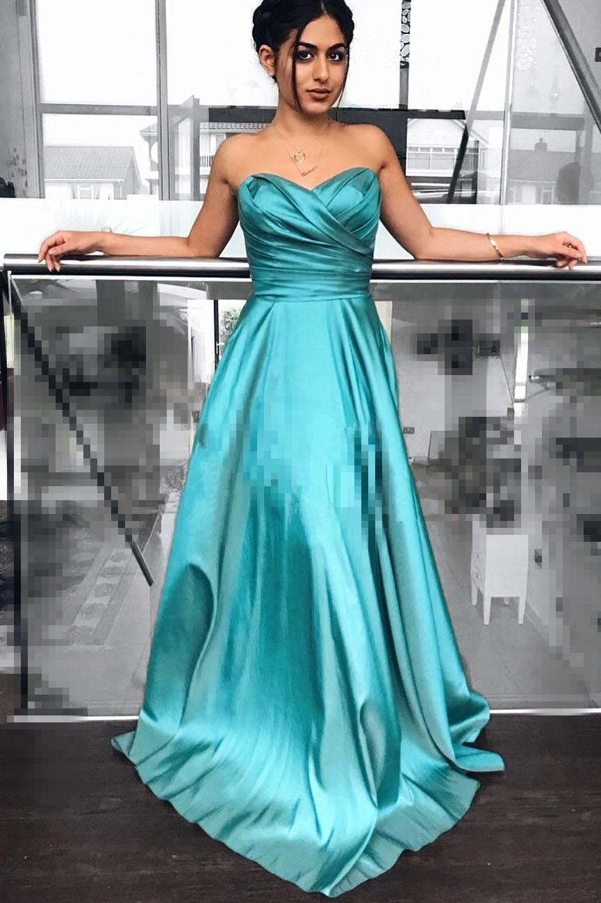 Charming Pleats Design Prom Gown Sexy Sweetheart A-line Long Evening Dress for Special Occasion Custom Made