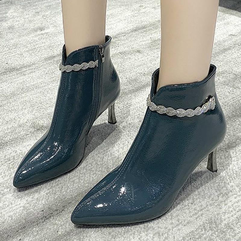 2020 nuevas mujeres botas estilo extraño tacones altos tacones de otoño invierno femenino de moda corta moda zapatos de cuero mujer cremallera1