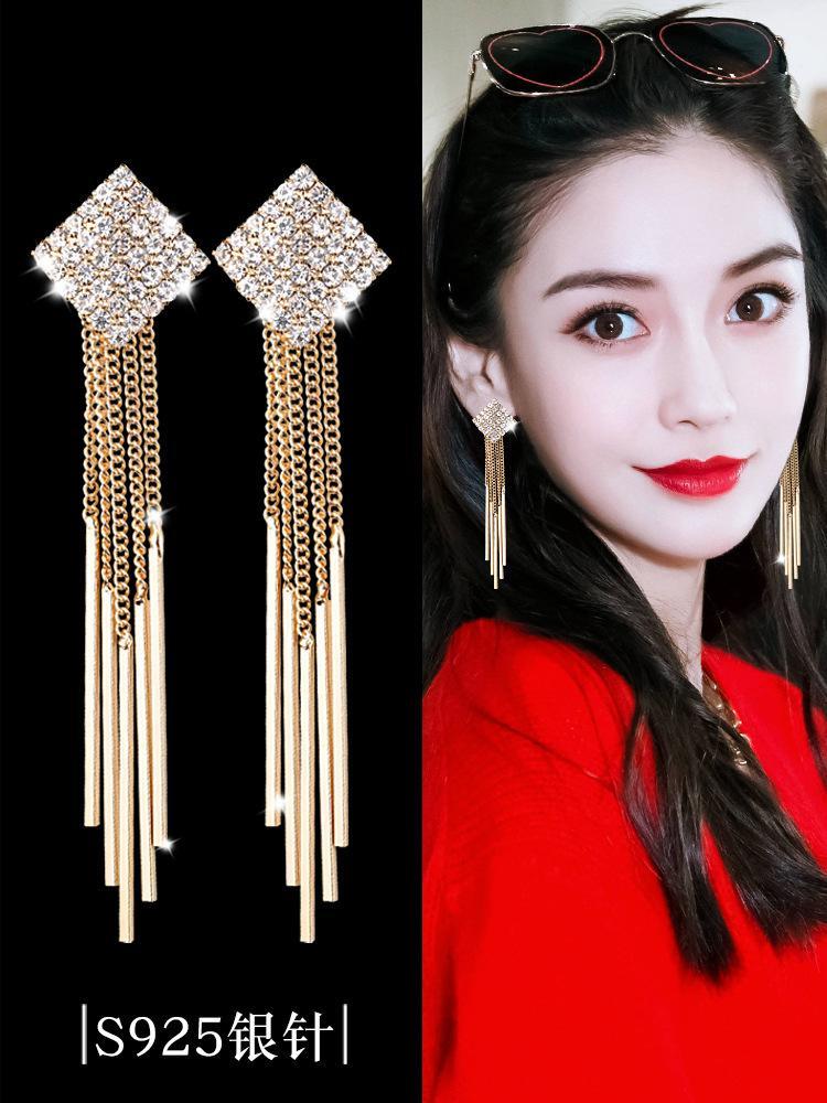 مزاجه الأزياء سلسلة طويلة الشرابة الإناث شخصية الماس كامل الماس قطرة شكل هندسي أقراط 925 سيري إبرة
