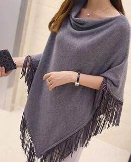Frühling und Herbst unregelmäßige lose große Pullover mittellangen Umhang Schal abnehmen Mantel Frauen Pullover Mantel DJHQR