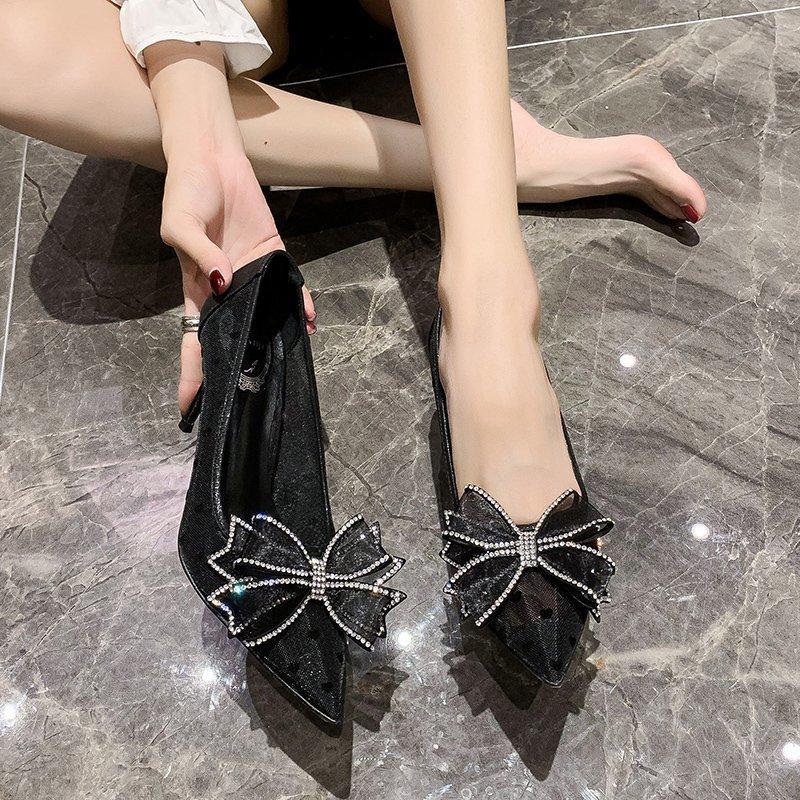Hot Sale-respirável Lace estilete das mulheres dos saltos do dedo do pé Pointed Salto Alto vestido de festa Cristal Bow Bombas Calçados Femininos Ouro Preto 2020