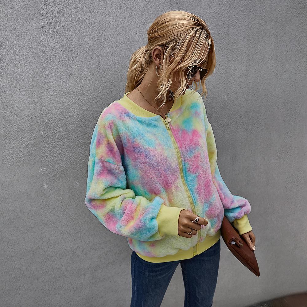 امرأة فريدة الشتاء القطيفة سترة معطف أزياء الخريف V عنق التعادل صبغ عارضة تيدي أبلى الشارع الشهير للإناث 207005