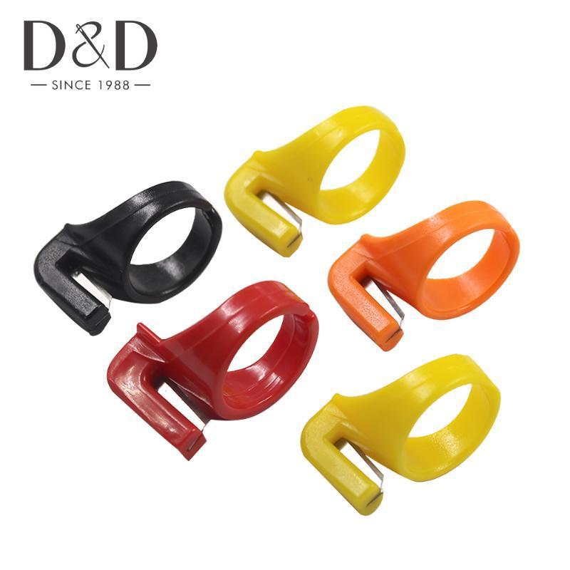 5pcs Artesanat Outil bricolage doigt anneau de couteau en plastique fil portable Cutter couture Accessoires couture Thimble