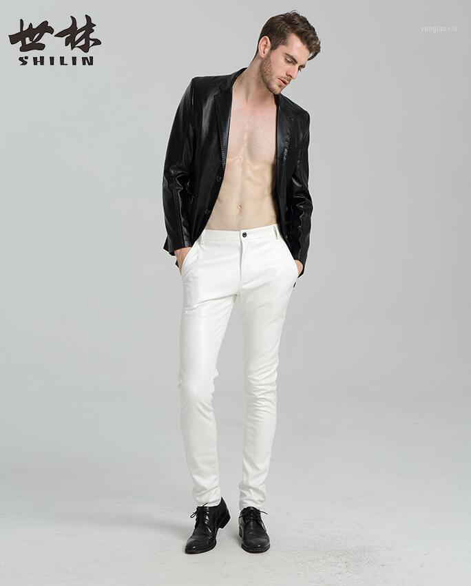 Pantaloni da uomo Pantaloni sottili Scherzi di moda Personalità Moto Fotografia da uomo in ecopelle Pantaloni PU Pantaloni per uomo Pantalon Homme rosso bianco nero