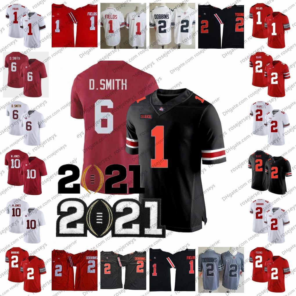 NCAA Bama Devona Smith Mac Jones jerseys 2021 Campeões Alabama Carmesim Maré Ohio Estado Buckeyes Justin Fields Chris Olave Garett Wilson