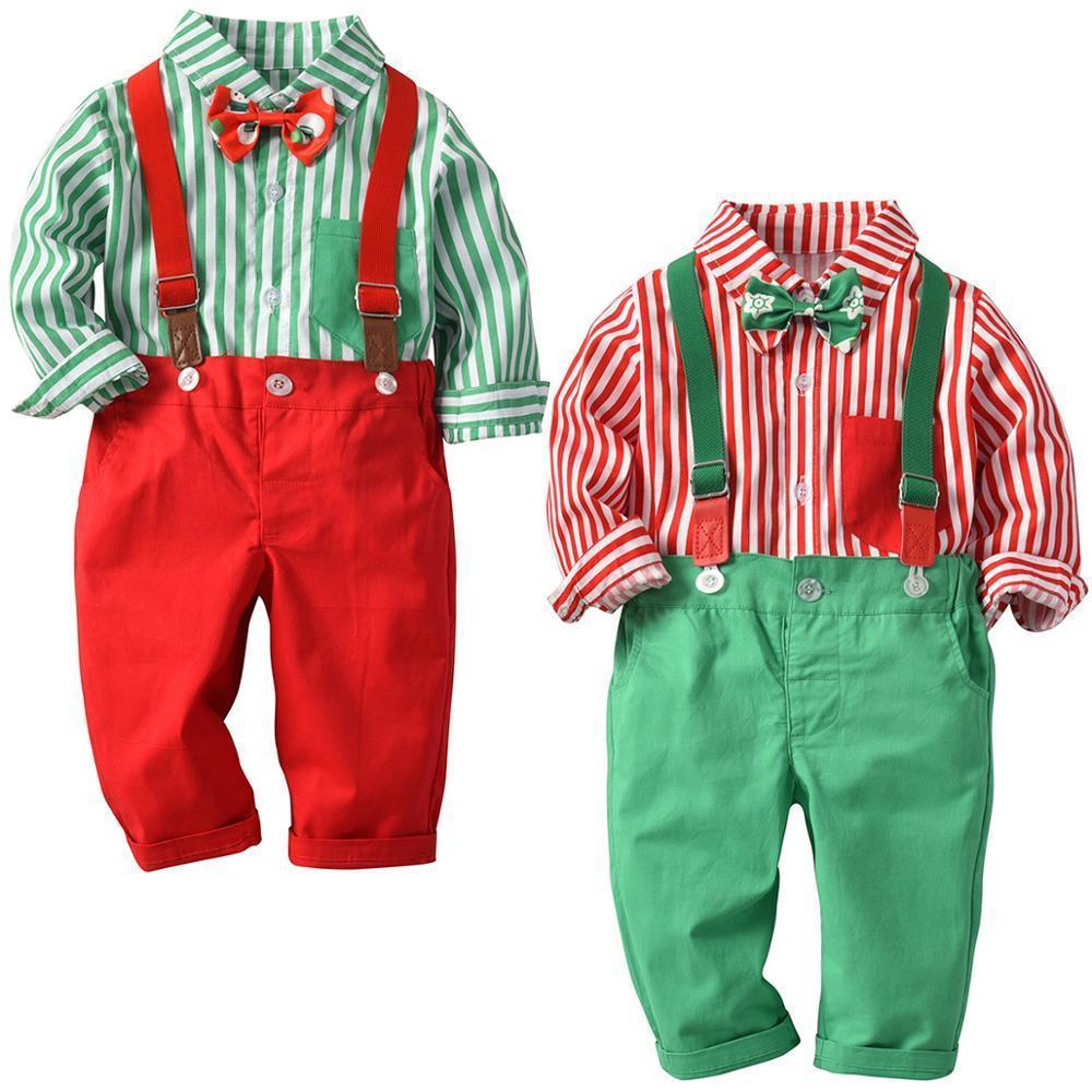 Vêtements de Noël garçon jarretelle Outfit bébé enfants garçon anniversaire de mariage Gentleman Costume manches longues Outfit Set Vêtements garçon Tout-petit Y1113