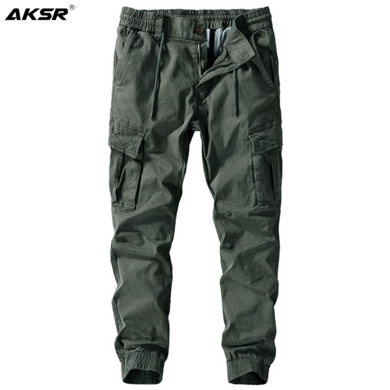 Coton Casual Cargo Joggers Pantalon Coton Militaire Joggers Pantalons Men Streetwear SweatPants Cordon de cordon de cordon de cuissard Harem Pants Plus Taille 201118