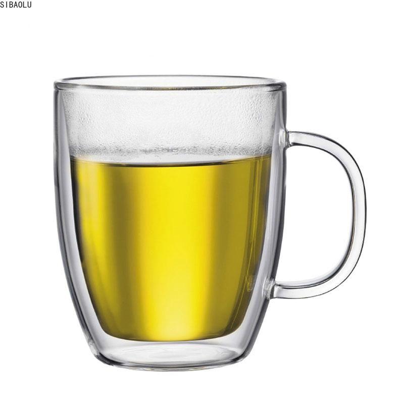 Double-Layer-Glas Großvolumige Becher 475ml Kaffeetasse Handgemachte Isolierglas