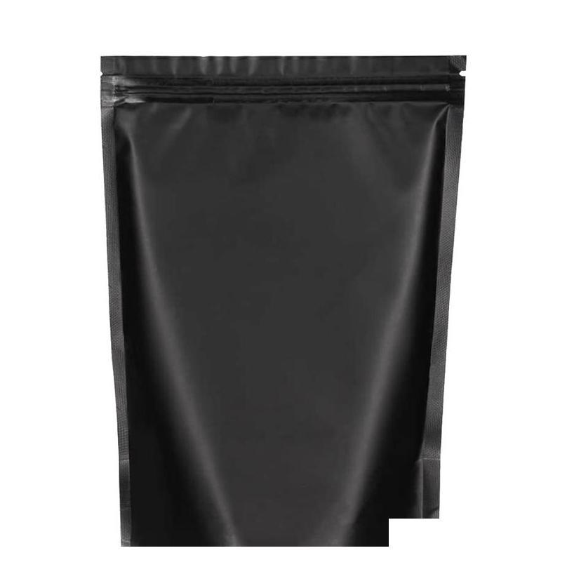 100 pack 6.3 inchx8.6 inch smell proof bags - resealable stand-up mylar bags foil pouch double-sided bag,matte black SqJ4u