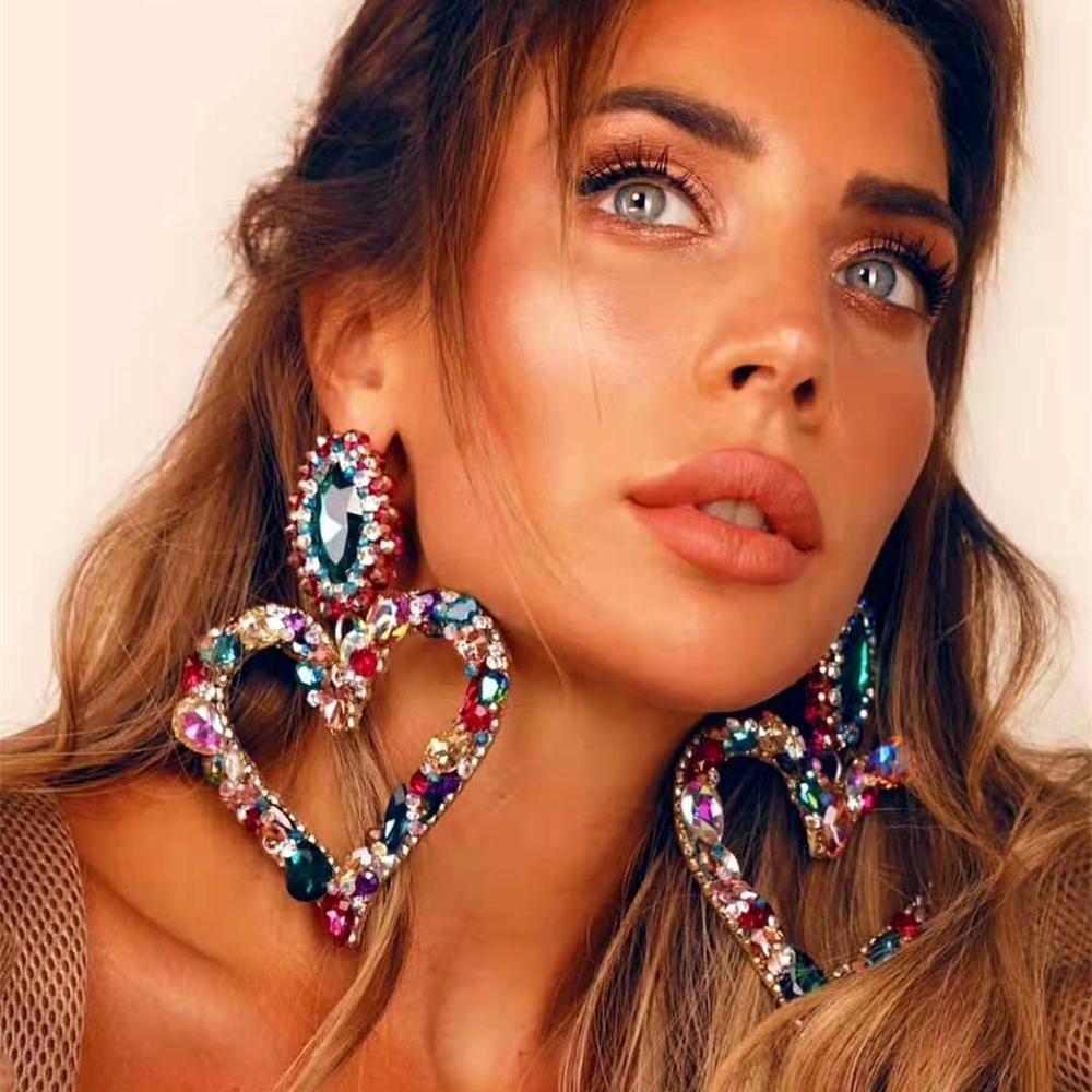 Fashion Brand Drop Earrings Iced Out Jewelry Bling Rhinestone Classy Lady Big Statement Street Party Dangle Baroque Heart Earrings for Women