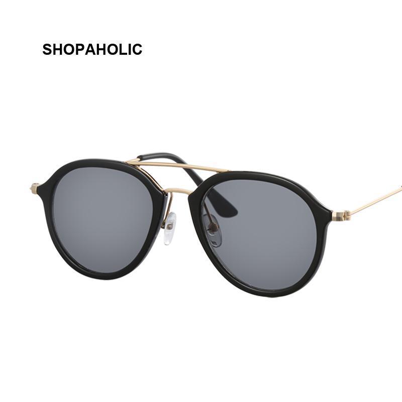 Vintage Runde Sonnenbrille Männer Frauen Klare Linse Kunststoff Vollrahmen Pilot Männliche Sonnenbrille Mode Marke Design Unisex Oculos