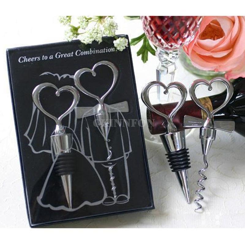 (50sets = 100pcs / lot) Amor do vinho do Corkscrew coração abridor de garrafas + Stopper presente favores do casamento abridor de garrafas Cenário Wedding