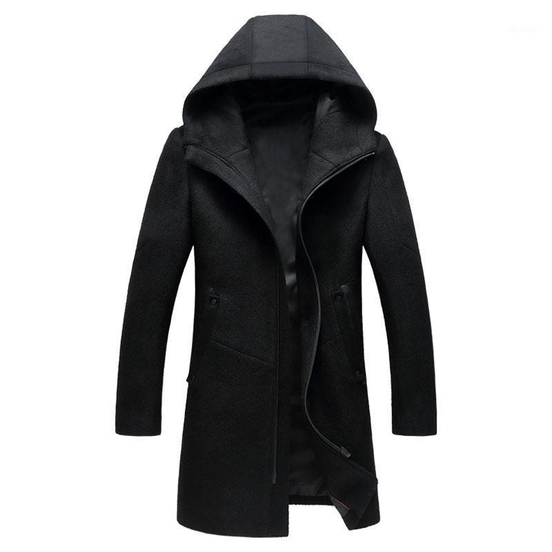 Casual Hombres cálidos Invierno Lana larga Capa de mezcla de manga larga Sólido lana de lana y chaqueta cremalleras Slim Outerwear1