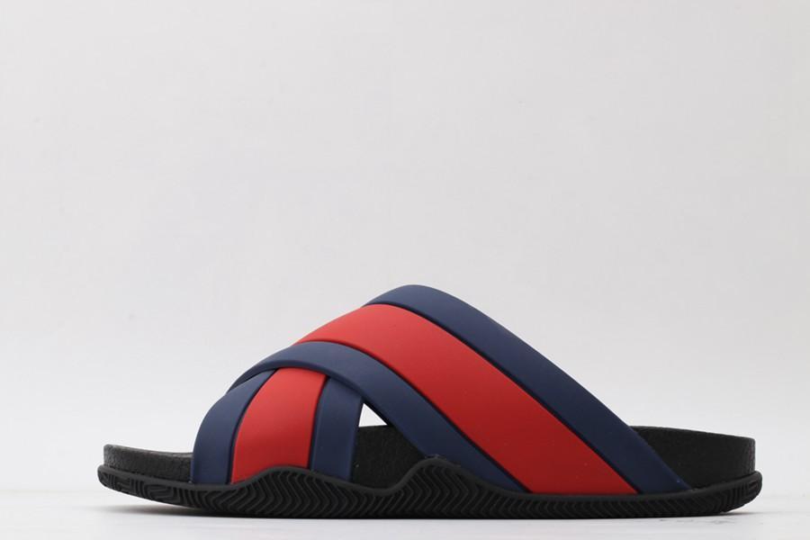 muchachos grandes zapatillas planas hombre de la moda diapositivas causel interiores de baño a rayas sandalias de goma antideslizante de los deslizadores 36-45