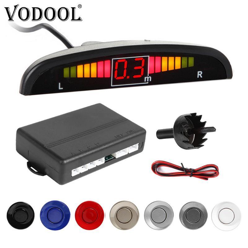 VODOOL LED-Auto-Parktronic-Parken-Sensor-Kit Auto-Reverse-Backup-Parken-Radar-Monitor Detector System Anzeige mit 4 Sensoren