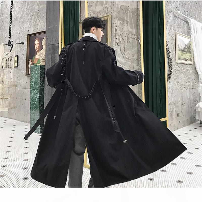 2019 neue unregelmäßige kordelzug lange trenchmantel männer frühling herbst beiläufige lose mantel herren schnüren up patchwork graben ds50765