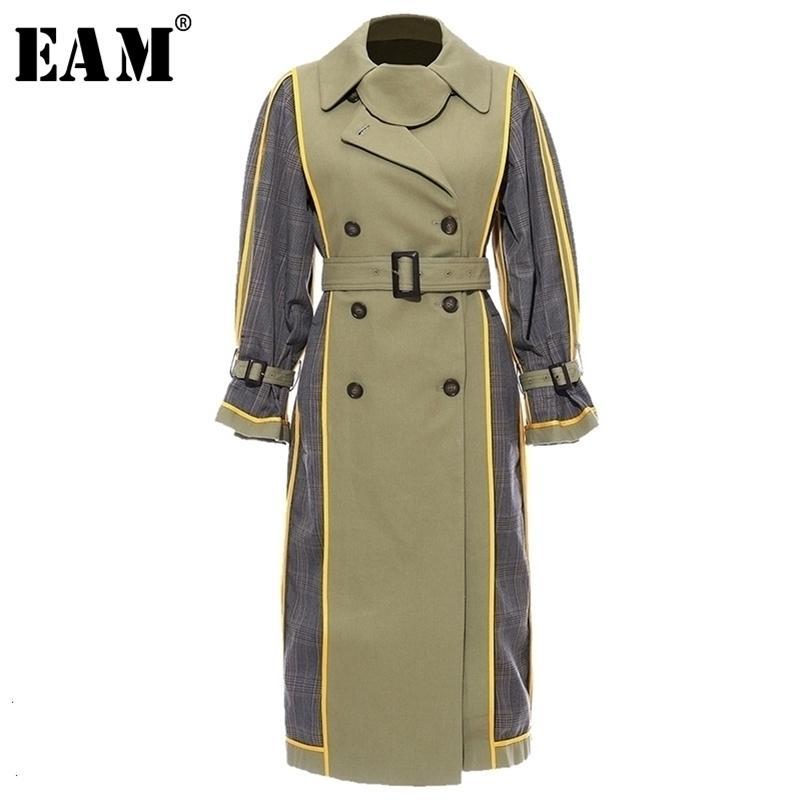 [Eam] mulheres xadrez spilit ambos desgaste lateral trincheira nova lapela manga longa solta windbreaker moda tide primavera outono 1h848 201102