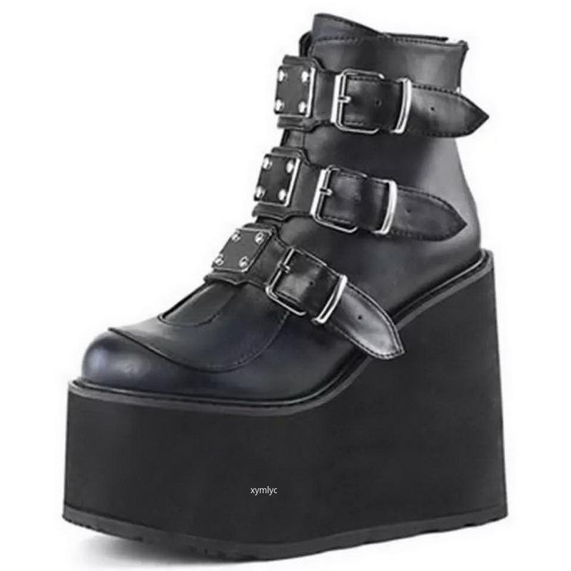 2020 Kış Metal Toka Ankel Boots Kadınlar Punk Kadın Platformu Boots Wedges Yüksek Topuklar PU Kadınlar Botaş Mujer Artı boyutu