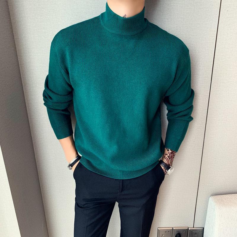 Jerseys Hombre Invierno Britannico Casual DolceNeck Allentato DolceNeck Uomini spessi 5 Solid Base Maglione Curry Color Alta qualità