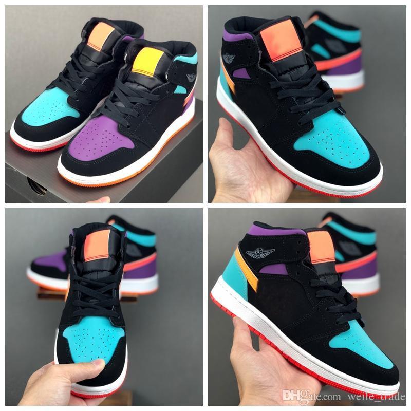 2020 Designer 1 alta OG tênis de basquete 1s Mid Low GS Preto Mandarin Duck Trainers Mulheres das sapatilhas dos homens cestas zapatillas de baloncesto
