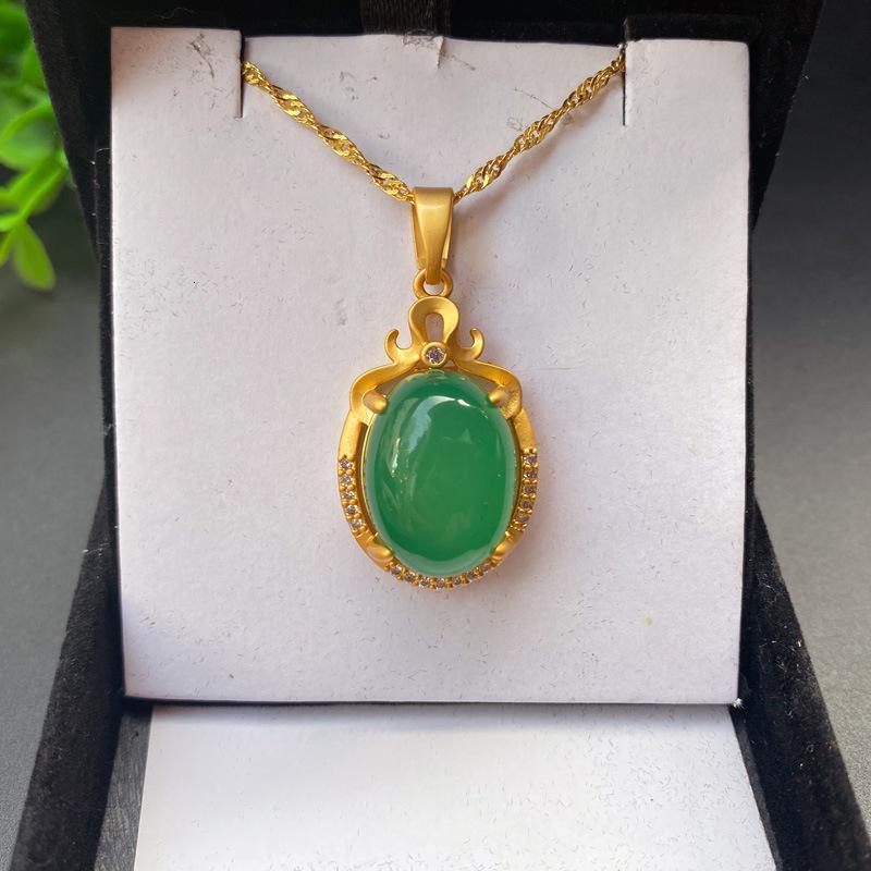 Зеленый халцедон S925 серебряный инкрустированный древнее французское золото агат ожерелье Джейд кулон прохладный бриллиант женские украшения