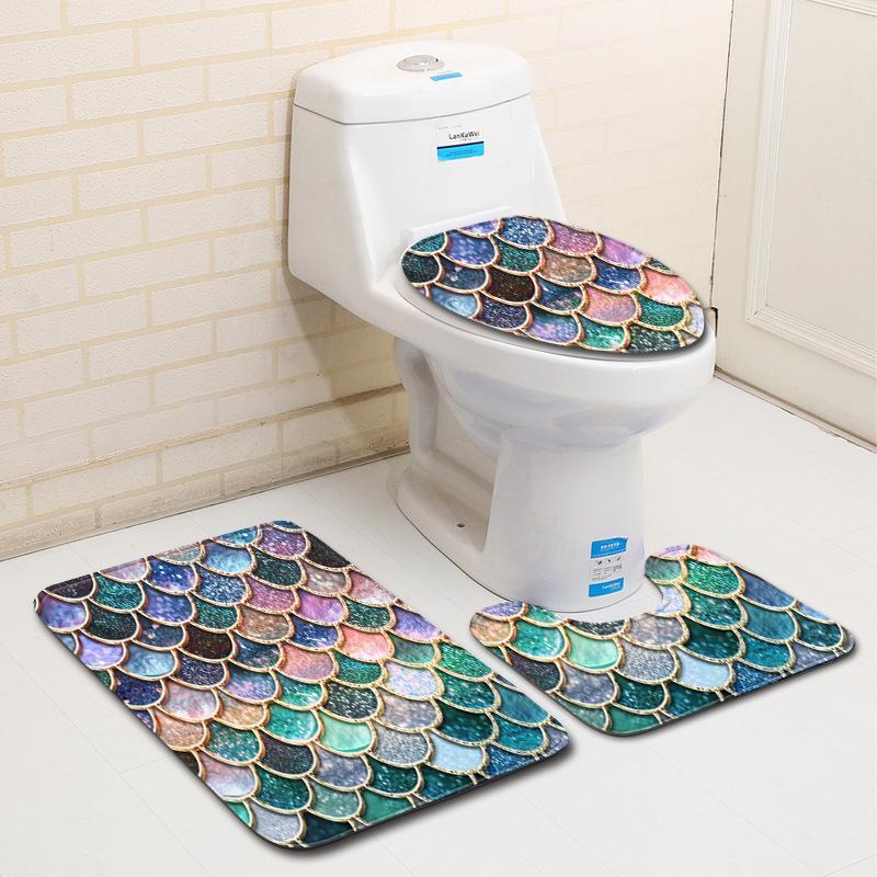 Escala de peixe impresso tapetes de banho 3 pçs / set anti-deslizamento casa de banho tapetes toalete toalete tapete tapetes tapetes tapetes tapetes EEF4811