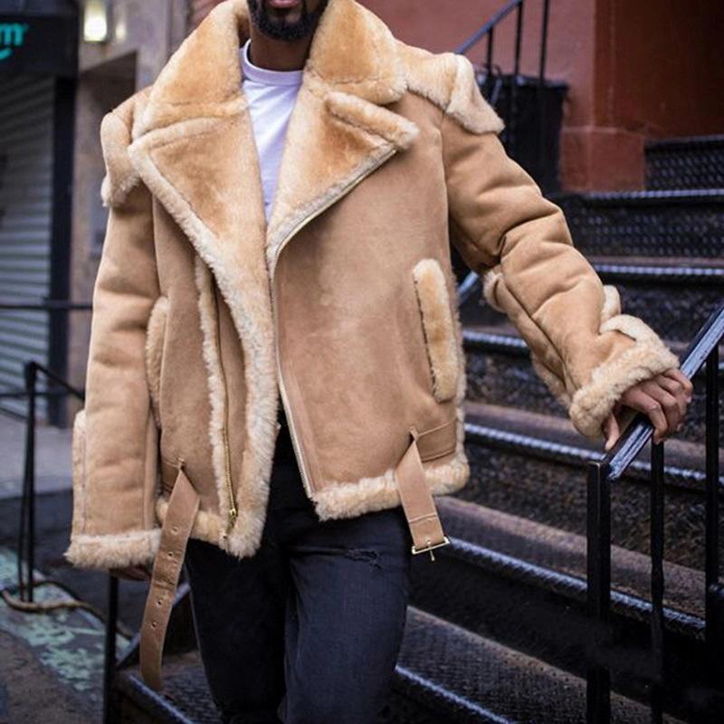 2021 camurça motocicleta inverno novo moda masculina casaco curto acolchoado acolchoado roupas de algodão acolchoado