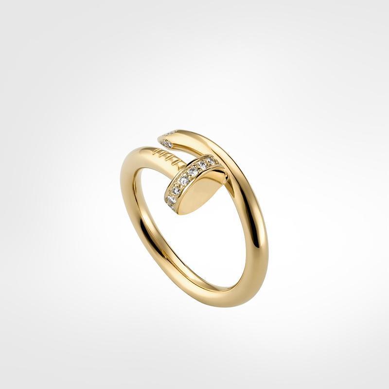 مصمم حلقات كلاسيكي فاخر مصمم مجوهرات النساء حلقات مسمار الدائري التيتانيوم الصلب مطلية بالذهب أبدا لا تضلل ليس حساسية