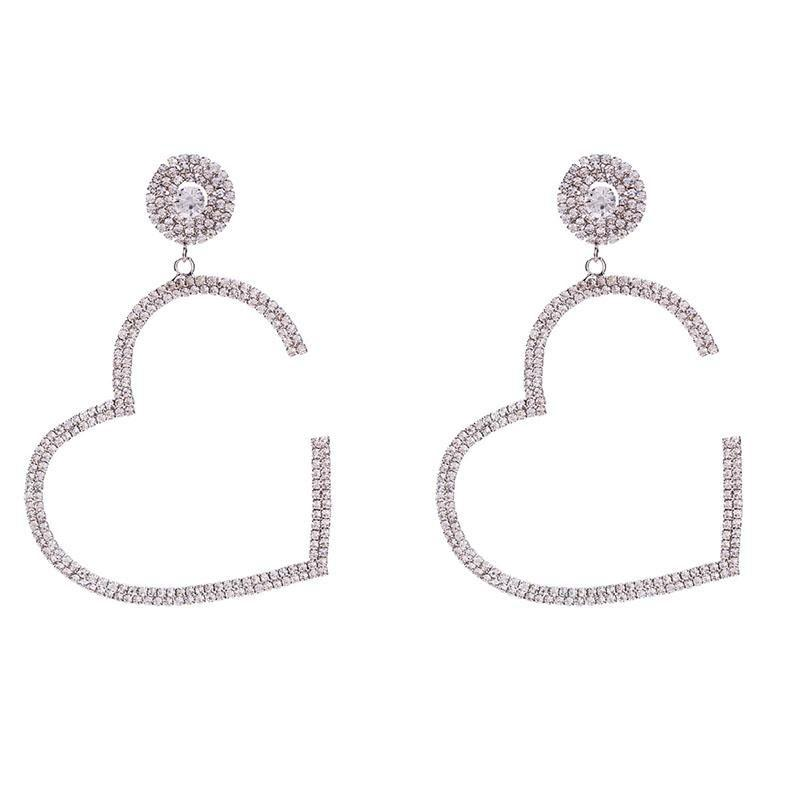 Hot Sale Personality Night Club Party Earring for Women Luxury Rhinestone Exaggerated Heart Stud Fashion Vintage Style Party Earrings