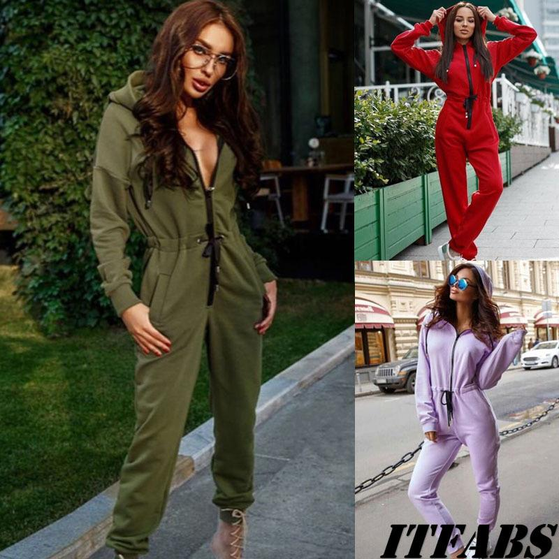 Мода женская стремление Jumpsiut Rumpsiut Sportswear длинные брюки-причинно-комбинезон уличный одежда