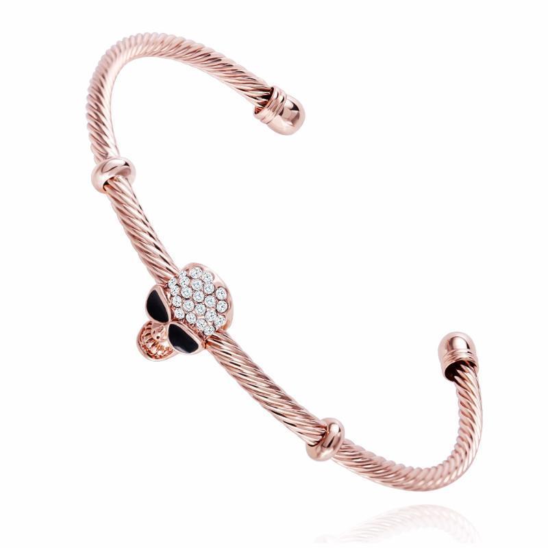Tassina Antike schwarze Punkschädel-Edelstahl-Armband-Männer Frauen Gothic Qualitäts-Schmucksachen geöffnetes Armband Mode
