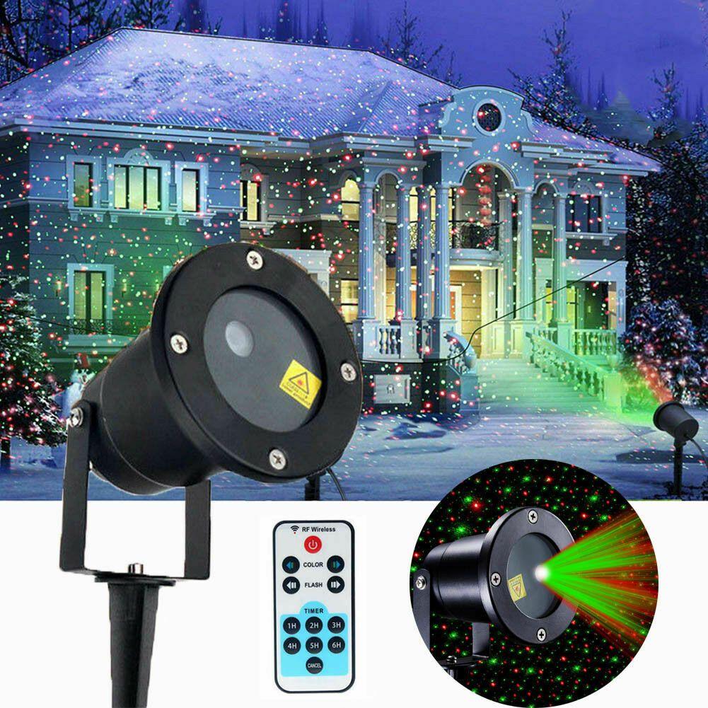 Noel Lazer Yıldız Işık RGB Duş LED Hareket Sahne Projektör Lambaları Açık Bahçe Çim Peyzaj 2 in 1 Hareketli Tam Gökyüzü Lambası