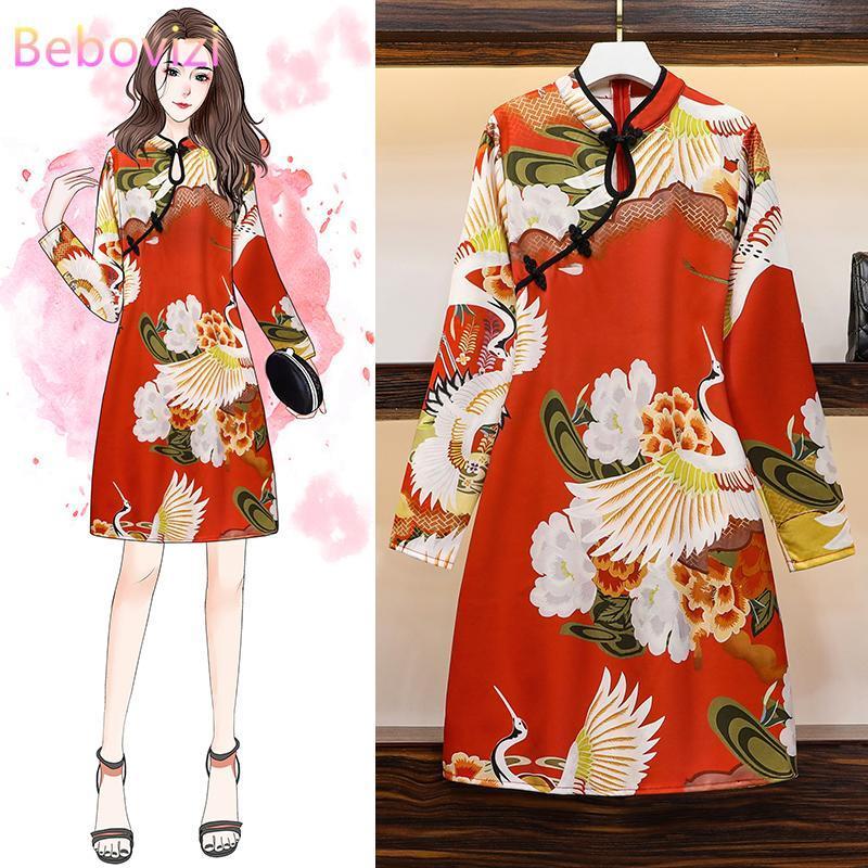 Tamanho tradicional Qipao Casual partido chinês Vintage Mulheres Midi vestido longo manga Cheongsam Vestidos 2020 Outono Inverno M-4XL Mais