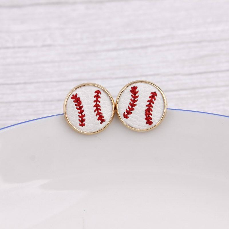 16 millimetri di baseball del ricamo Orecchini Cheetah stampa animale Peloso Borchie Pelle per i monili delle donne dell'oro Softball orecchini Sport