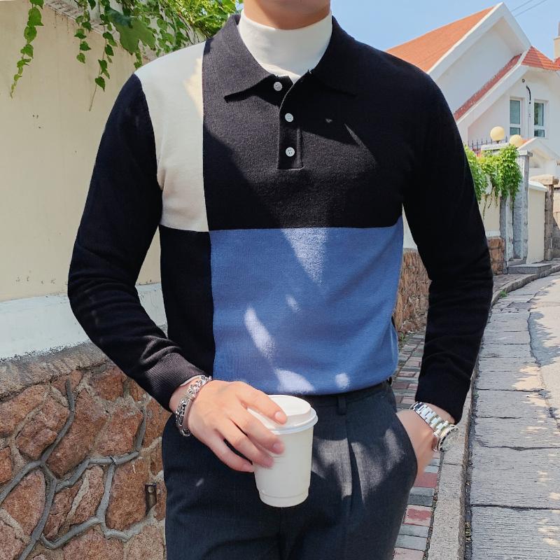 Shirt Männer Splicing-Kontrast-Farben-Revers Langarm Freizeithemd Weiß Britischer gestrickte Unter Camisas Ropa De Hombre