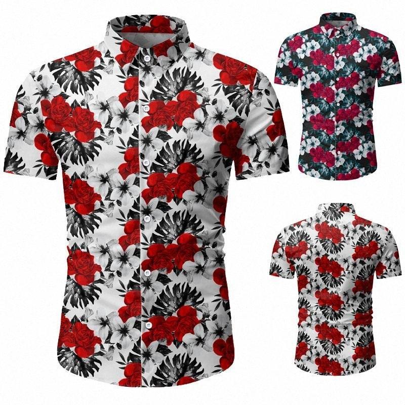 erkek giyim gömlek 2020 Yeni Yaz Erkek Kısa Kollu Hawaii Gömlek Pamuk Casual Çiçek Gömlek Düzenli Giyim Fash QHK2 # Dalga