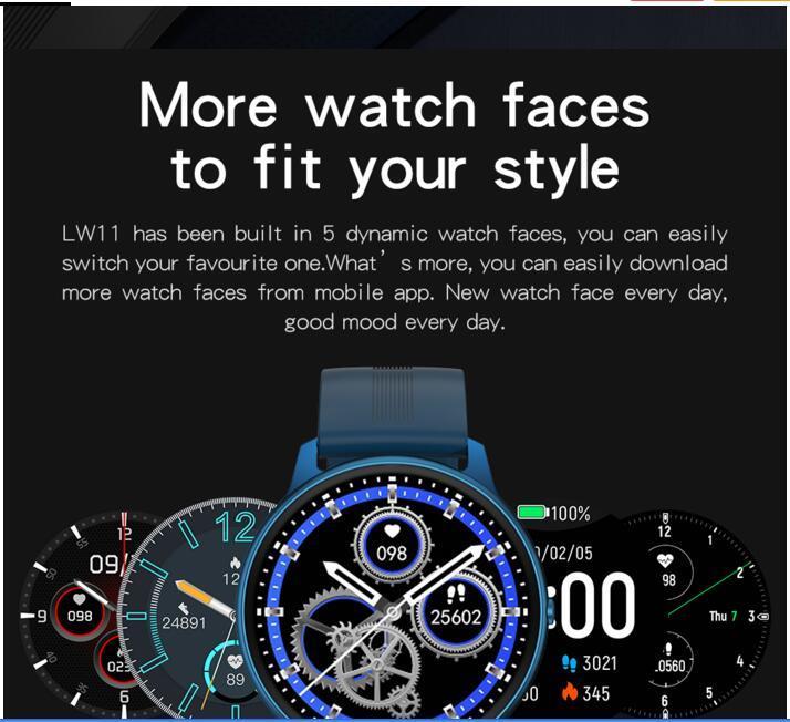 بيع 10 قطعة على الانترنت العلامة التجارية معصمه الذكي الجديد LW11 الرجال الذكية ووتش رصد معدل ضربات القلب IP68 للماء للياقة البدنية المقتفي المرأة ساعة اليد