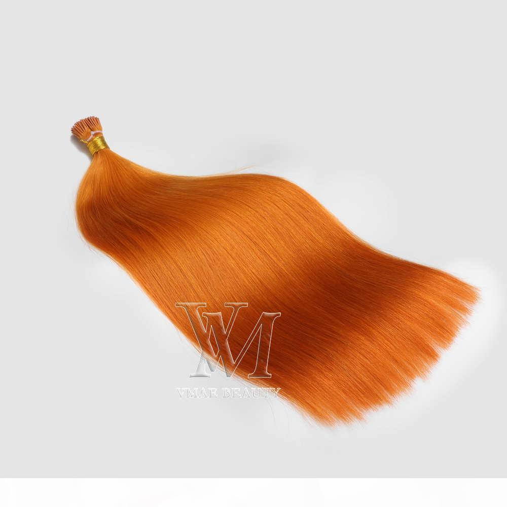 VMAE Laranja indiana 1g vertente 100g prebonded extensões de cabelo natural Hetero queratina Duplo Drawn I Tip Virgin extensão do cabelo humano