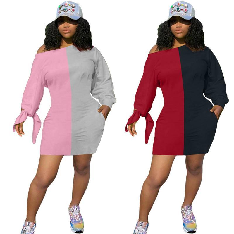 Contrast Color Women Dresses Casual Lace Up Long Sleeve Sloping Shoulder Loose Dress Women Designer Clothes 2020