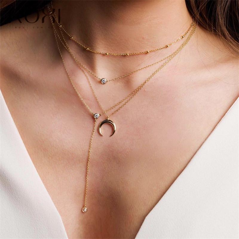 Februaryfrost Marca ottone collana reale per i monili della ragazza delle donne oro perle sfera di colore catena d'argento della collana del collare del Choker