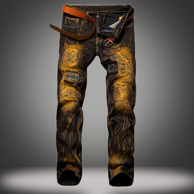 Jeans de l'homme 1J trous européen et américain vieux Slim Distributeurs en gros Sline Chine