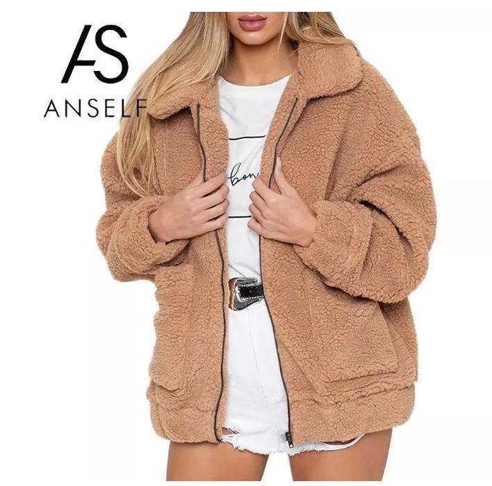 Зимние женщины из искусственного меха сплошной цветовой куртки Пушистый плюшевый мишка флисовая молния карманы с длинным рукавом пушистый пальто повседневная уличная одежда