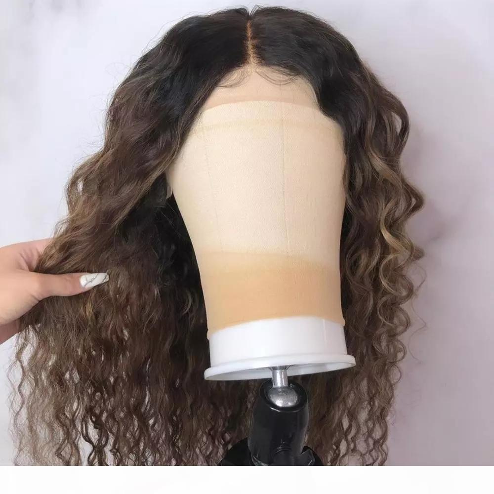 Оммре Цветные вьющиеся кружева передние человеческие волосы парики волос с детскими волосами Prevuced Remy бразильский кружевной боб парики отбеленные узлы