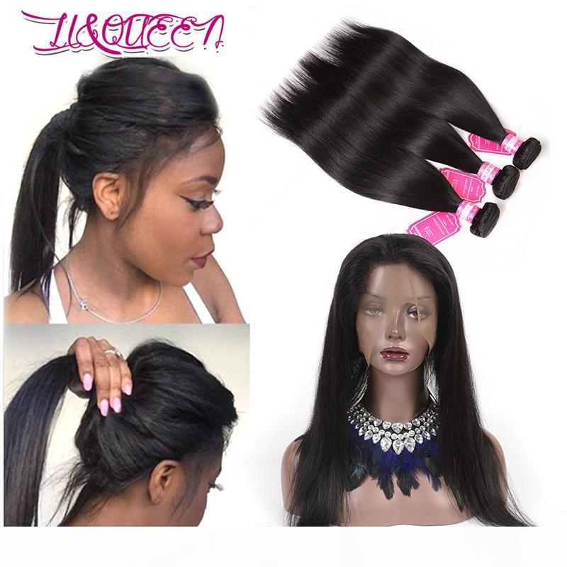 Малазийские человеческие волосы Straight 360 Lace Фронтальные с узелками Pre щипковых 360 Кружево Фронтального Закрытие С человеческими волосами переплетения Закрытие