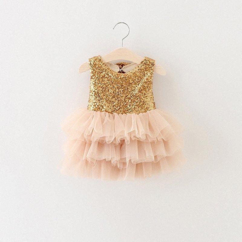 All'ingrosso abiti per bambini per ragazze 2017 Style Summer Gold paillettes Tutu Party Eventi vestito per neonate vestiti inchino formale Dress For In 0Vqq #