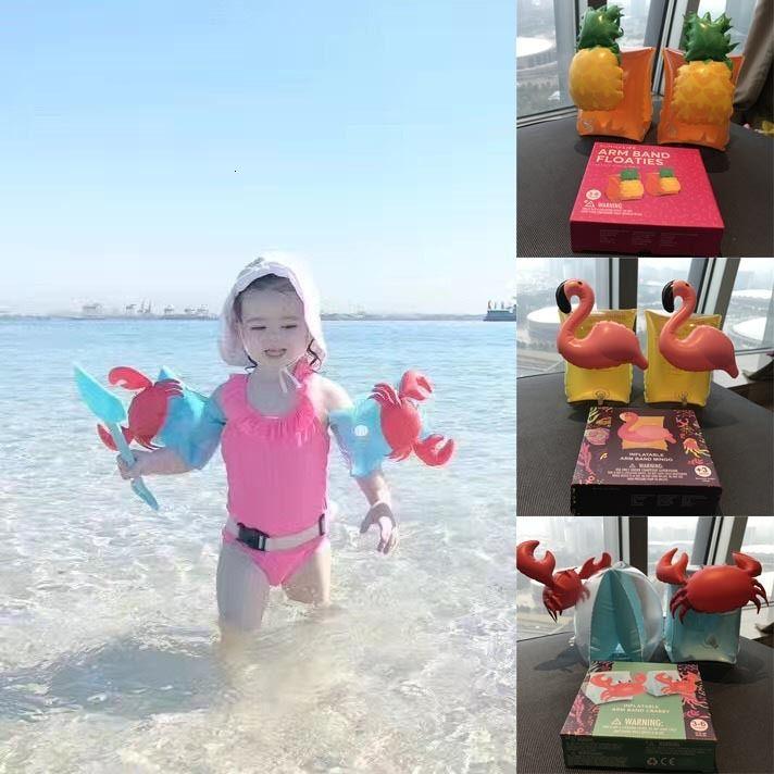 Niños inflable del brazal de Natación Armlet flamenco cangrejo bebé flotador Safty Asistencia Herramientas Flotador inflable del anillo de la nadada del brazo
